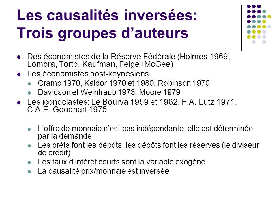 Les causalités inversées: Trois groupes d'auteurs
