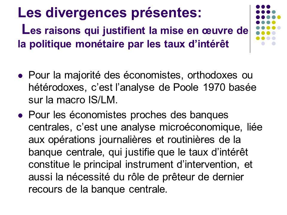 Les divergences présentes: Les raisons qui justifient la mise en œuvre de la politique monétaire par les taux d'intérêt