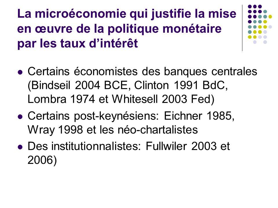 La microéconomie qui justifie la mise en œuvre de la politique monétaire par les taux d'intérêt