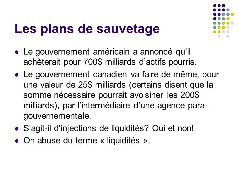 Les plans de sauvetage Le gouvernement américain a annoncé qu'il achèterait pour 700$ milliards d'actifs pourris.