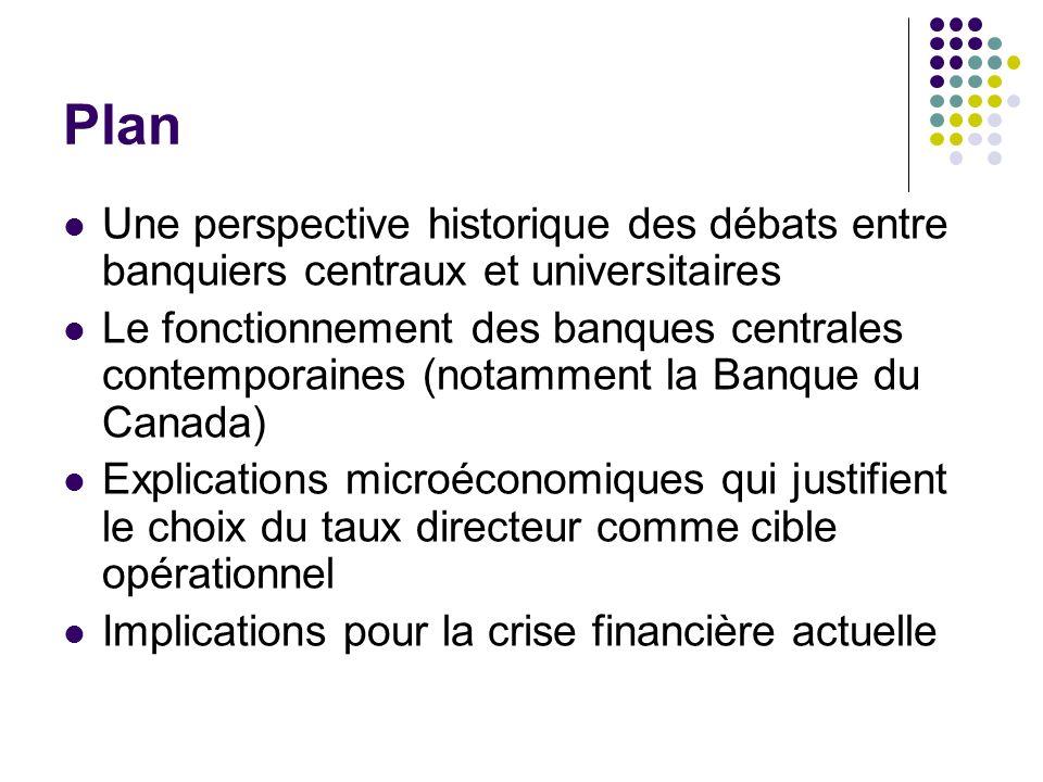 Plan Une perspective historique des débats entre banquiers centraux et universitaires.