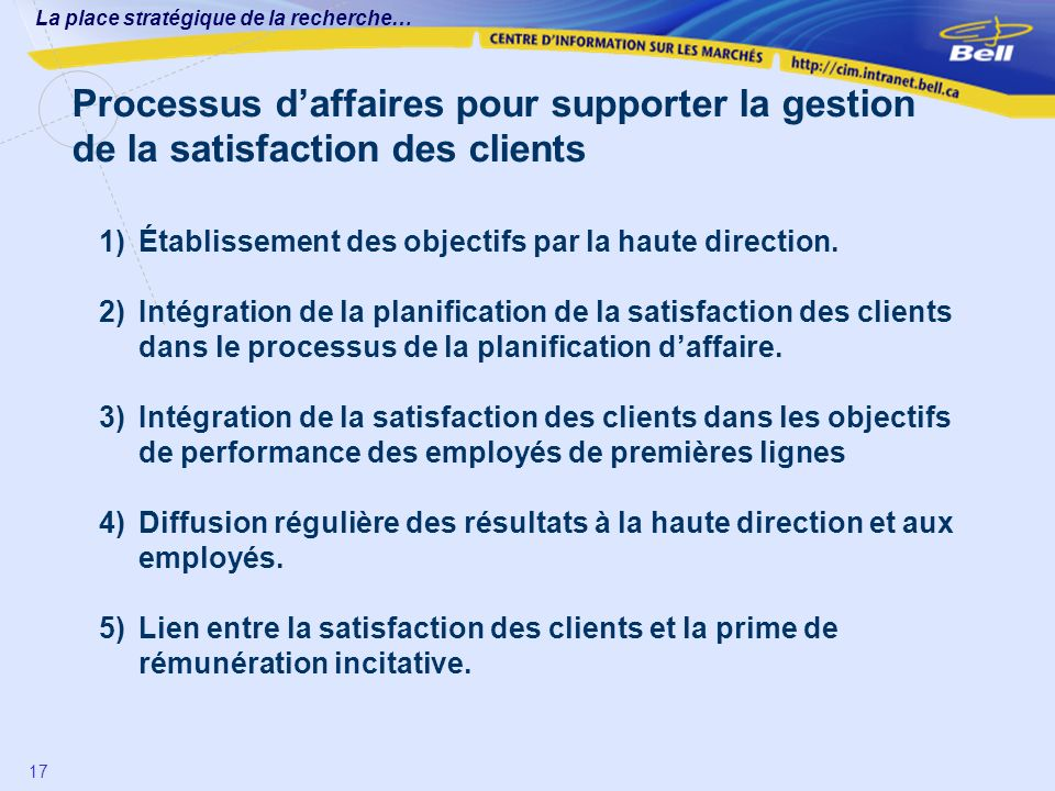 Processus d'affaires pour supporter la gestion de la satisfaction des clients
