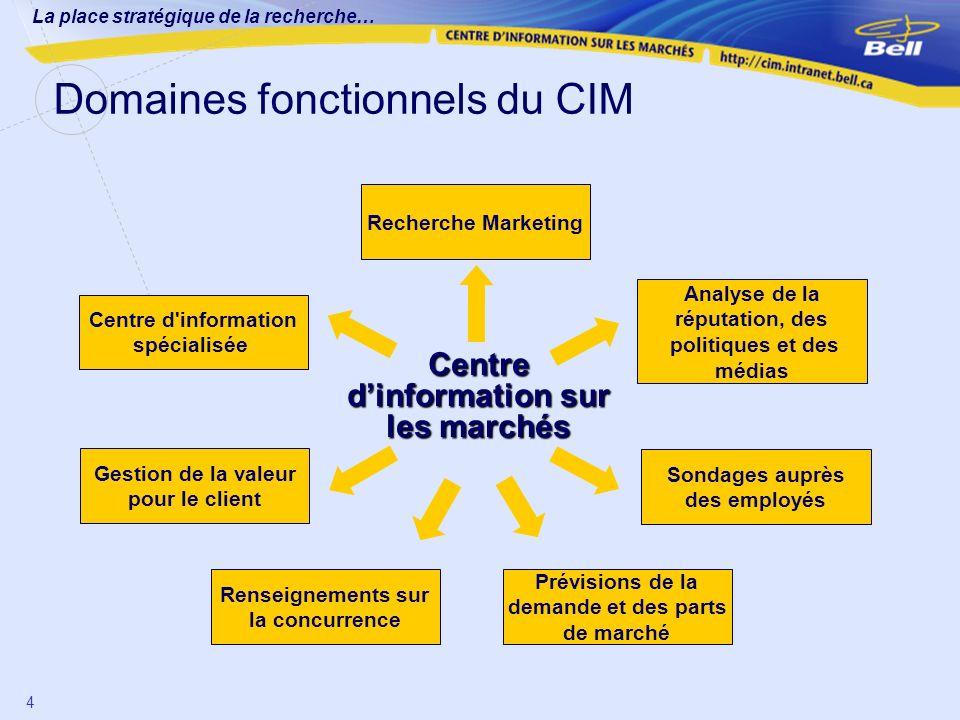 Domaines fonctionnels du CIM
