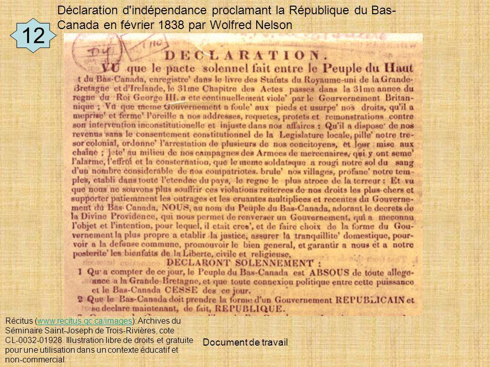 Déclaration d indépendance proclamant la République du Bas-Canada en février 1838 par Wolfred Nelson