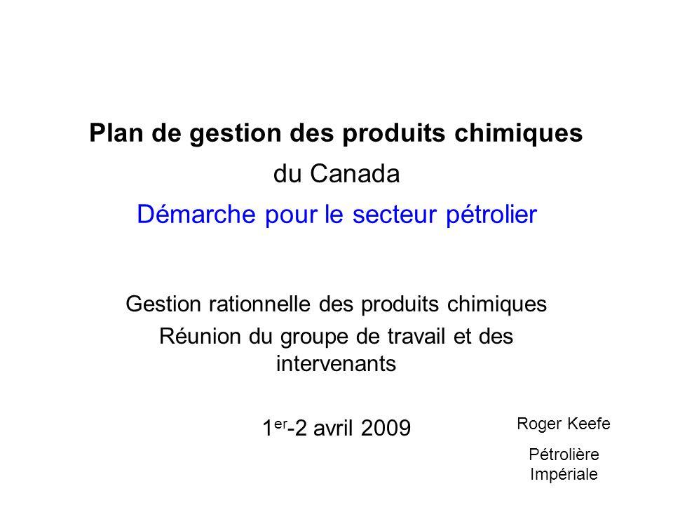 Plan de gestion des produits chimiques du Canada Démarche pour le secteur pétrolier