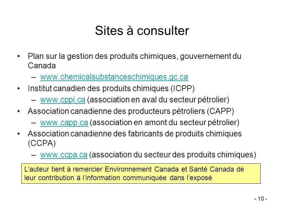 Sites à consulter Plan sur la gestion des produits chimiques, gouvernement du Canada. www.chemicalsubstanceschimiques.gc.ca.