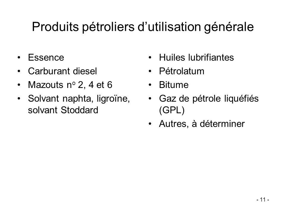 Produits pétroliers d'utilisation générale
