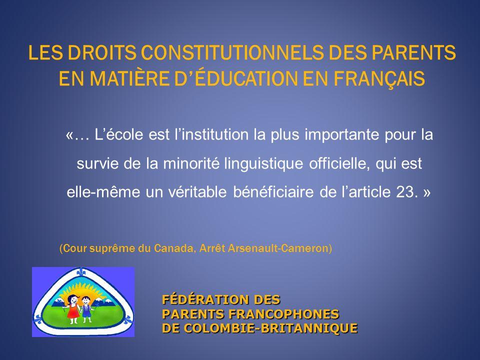 LES DROITS CONSTITUTIONNELS DES PARENTS EN MATIÈRE D'ÉDUCATION EN FRANÇAIS