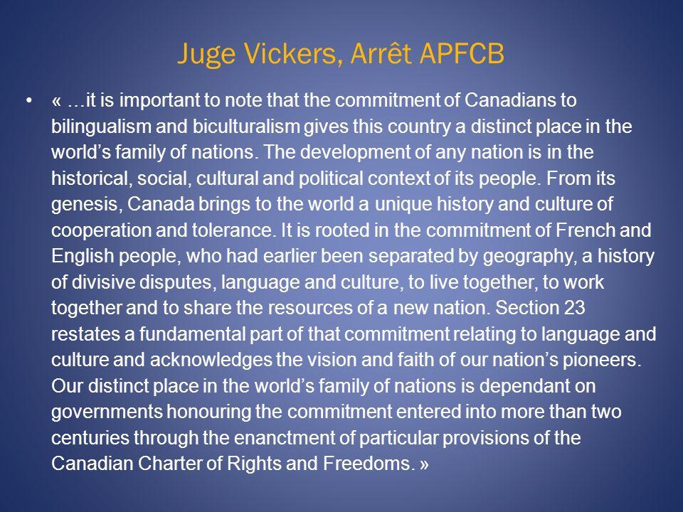 Juge Vickers, Arrêt APFCB