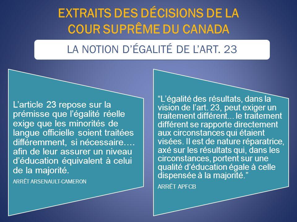 EXTRAITS DES DÉCISIONS DE LA COUR SUPRÊME DU CANADA