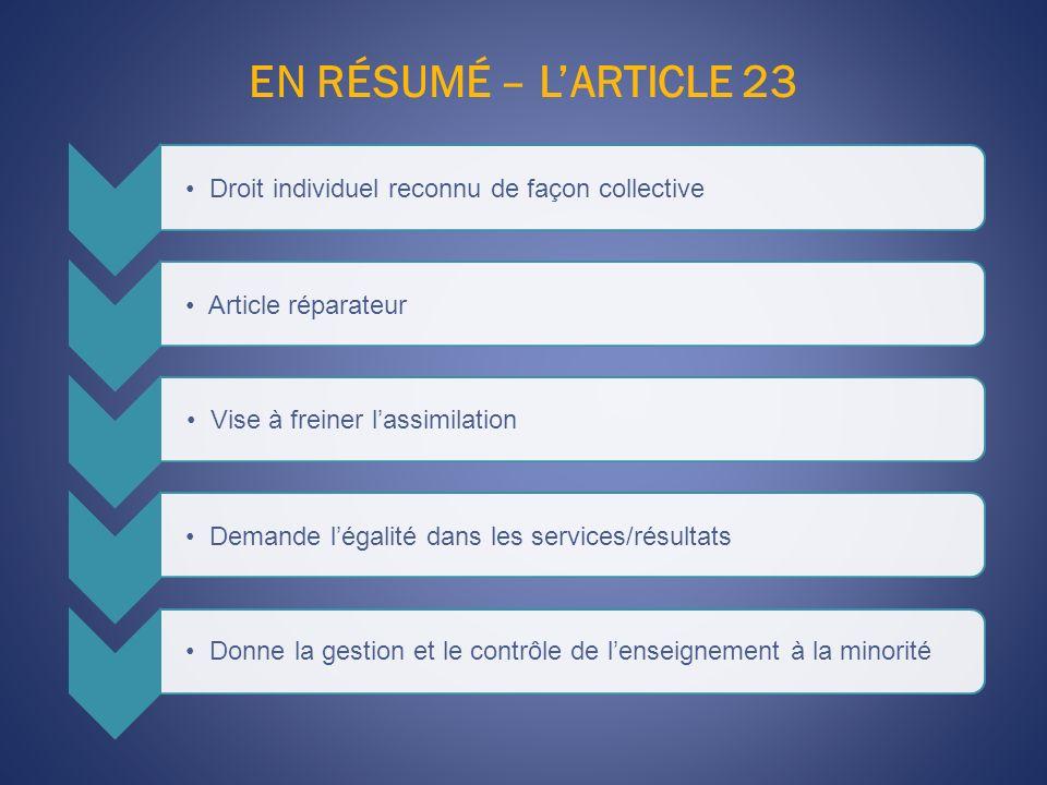EN RÉSUMÉ – L'ARTICLE 23 Droit individuel reconnu de façon collective. Article réparateur. Vise à freiner l'assimilation.