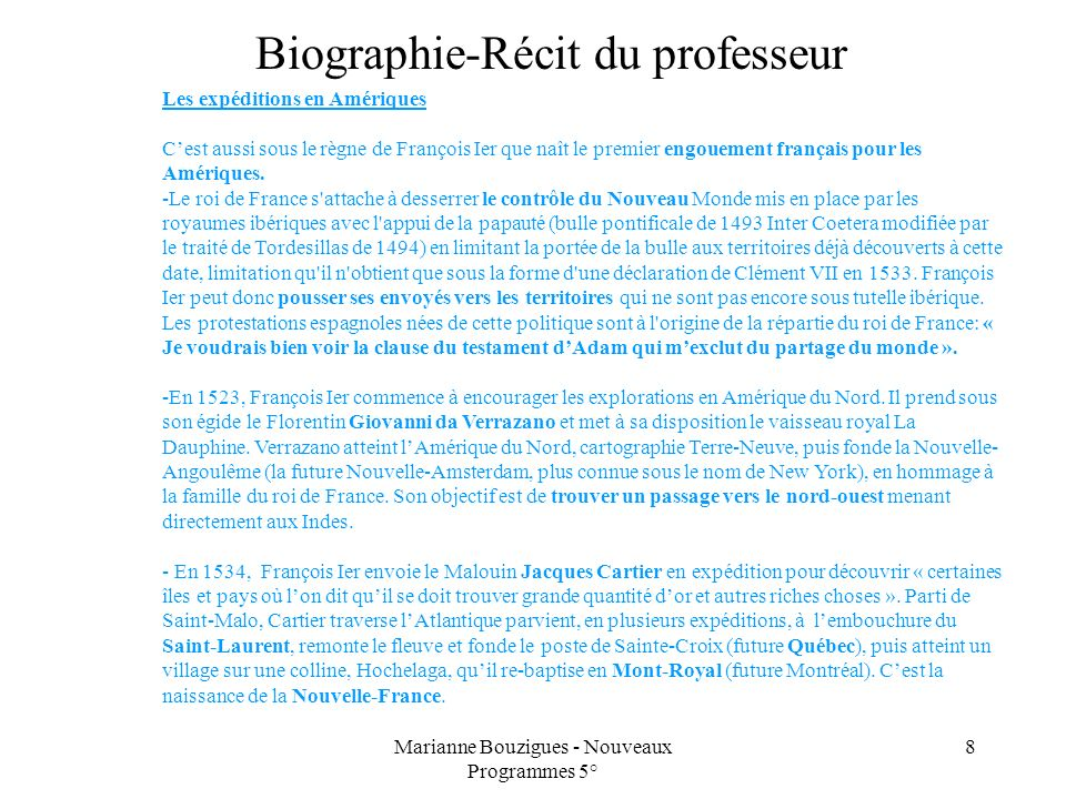 Biographie-Récit du professeur