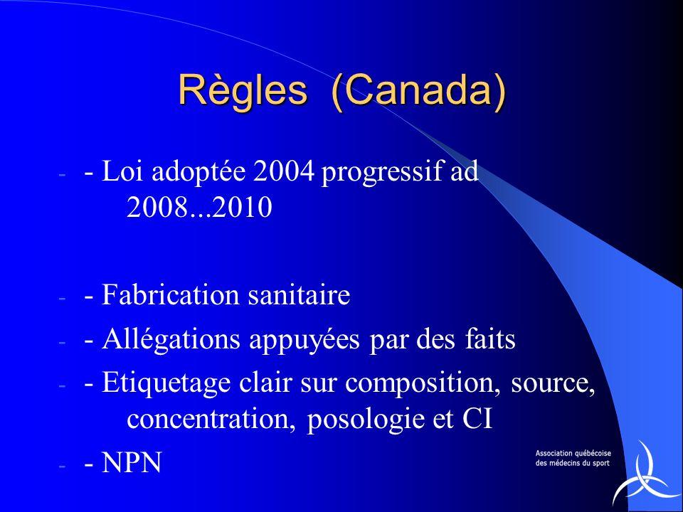 Règles (Canada) - Loi adoptée 2004 progressif ad 2008...2010