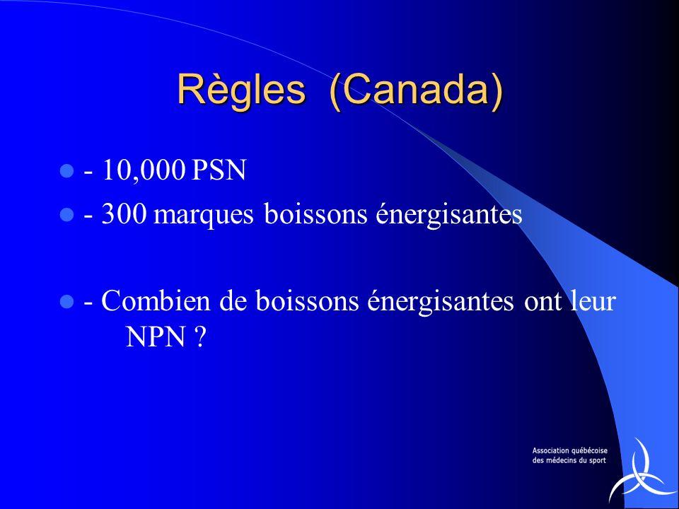 Règles (Canada) - 10,000 PSN - 300 marques boissons énergisantes