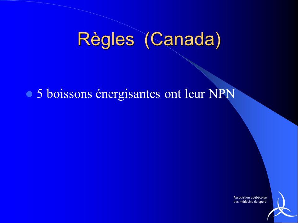 Règles (Canada) 5 boissons énergisantes ont leur NPN