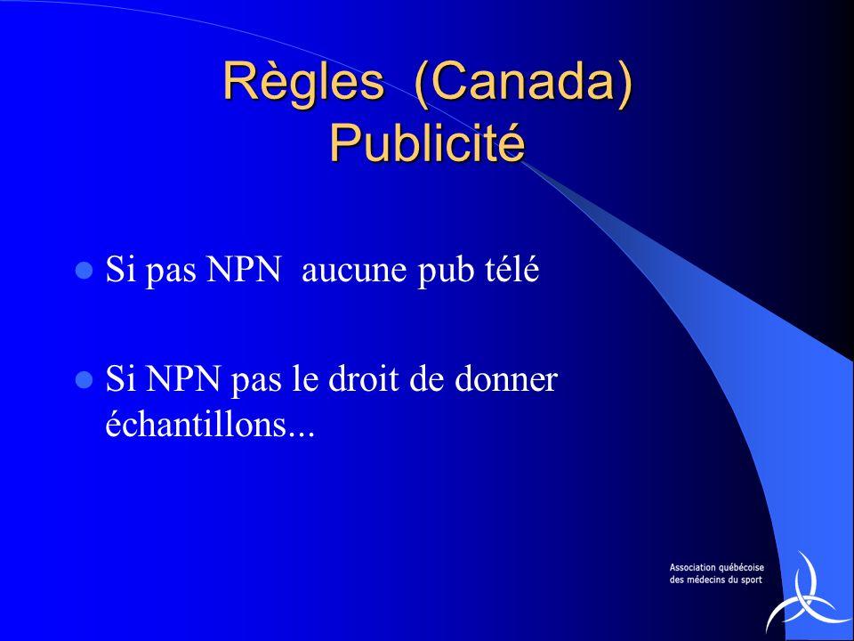 Règles (Canada) Publicité