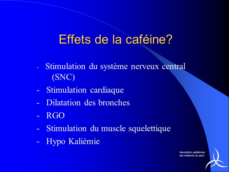 - Stimulation cardiaque - Dilatation des bronches - RGO