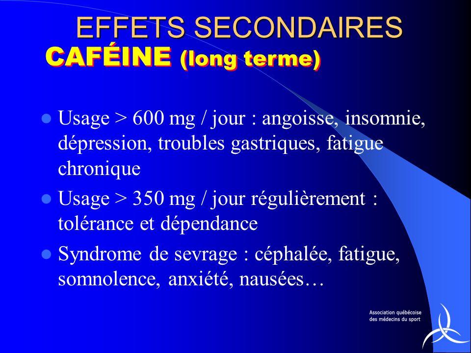 EFFETS SECONDAIRES CAFÉINE (long terme)