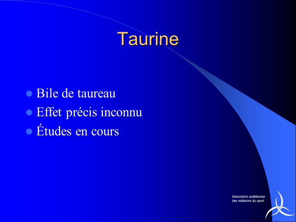 Taurine Bile de taureau Effet précis inconnu Études en cours