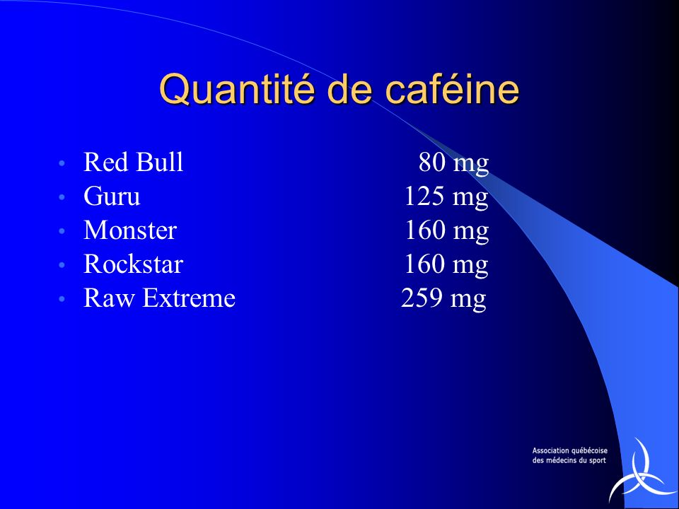 Quantité de caféine Red Bull 80 mg Guru 125 mg Monster 160 mg