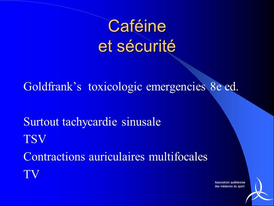Caféine et sécurité Goldfrank's toxicologic emergencies 8e ed.