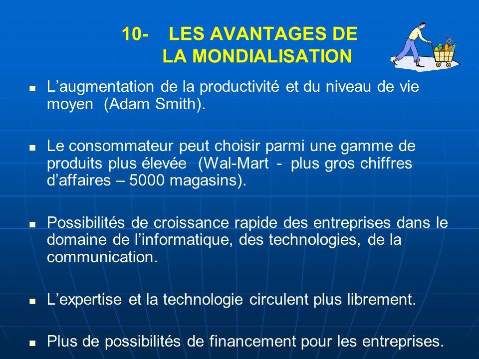 10- LES AVANTAGES DE LA MONDIALISATION