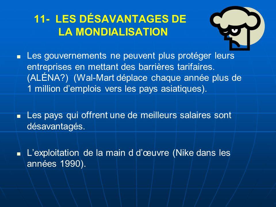 11- LES DÉSAVANTAGES DE LA MONDIALISATION