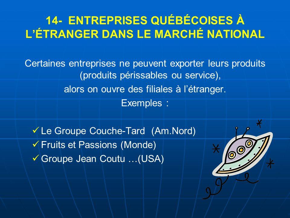 14- ENTREPRISES QUÉBÉCOISES À L'ÉTRANGER DANS LE MARCHÉ NATIONAL