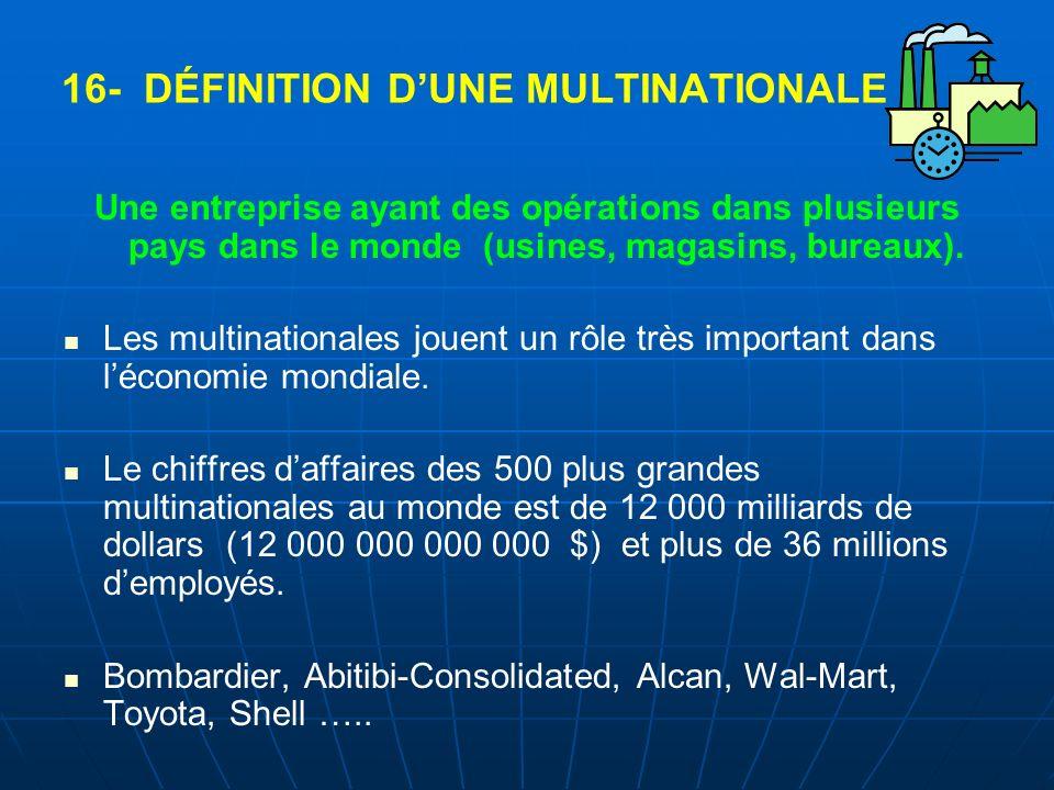 16- DÉFINITION D'UNE MULTINATIONALE