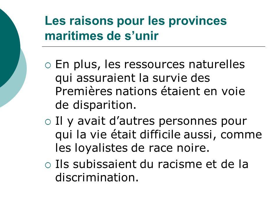 Les raisons pour les provinces maritimes de s'unir