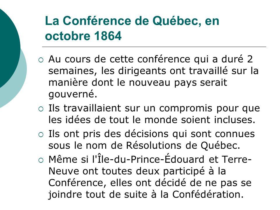 La Conférence de Québec, en octobre 1864