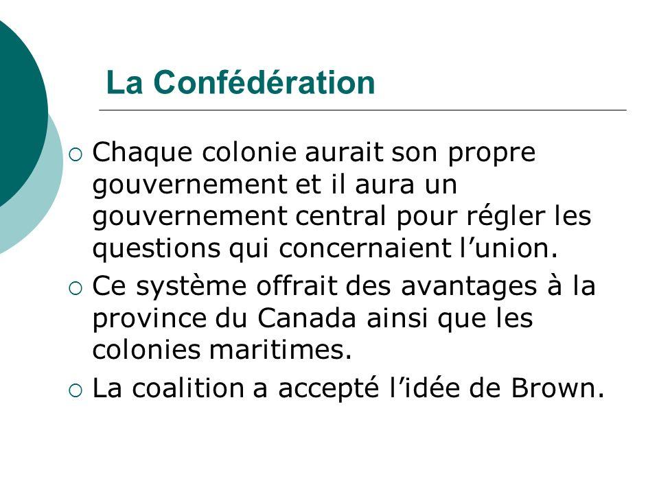 La Confédération Chaque colonie aurait son propre gouvernement et il aura un gouvernement central pour régler les questions qui concernaient l'union.