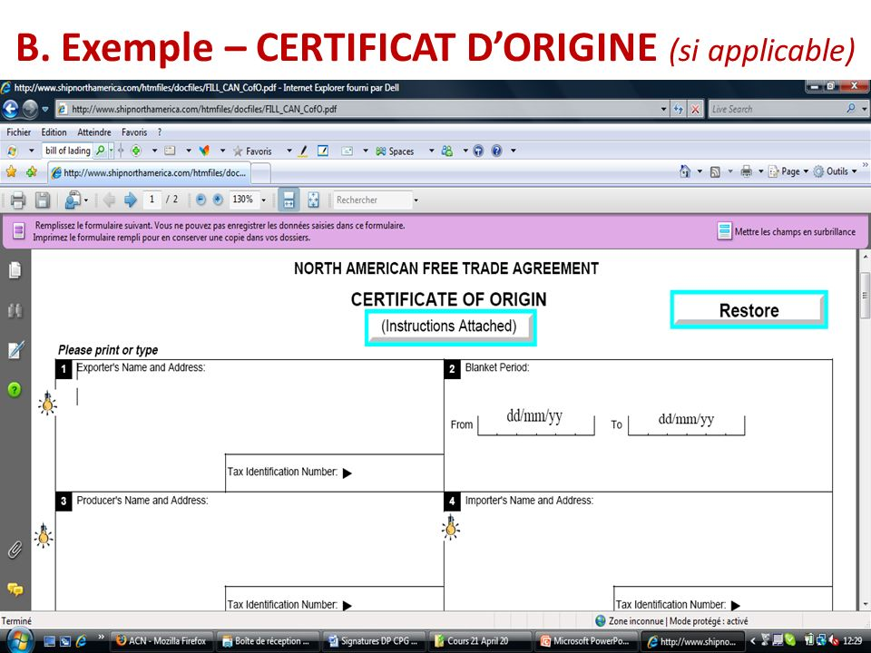 B. Exemple – CERTIFICAT D'ORIGINE (si applicable)