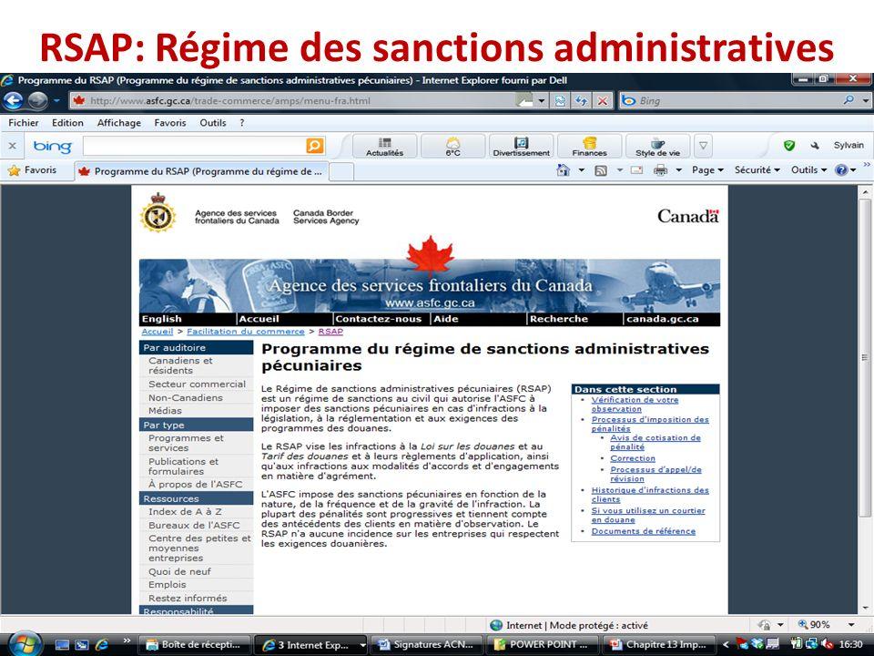 RSAP: Régime des sanctions administratives
