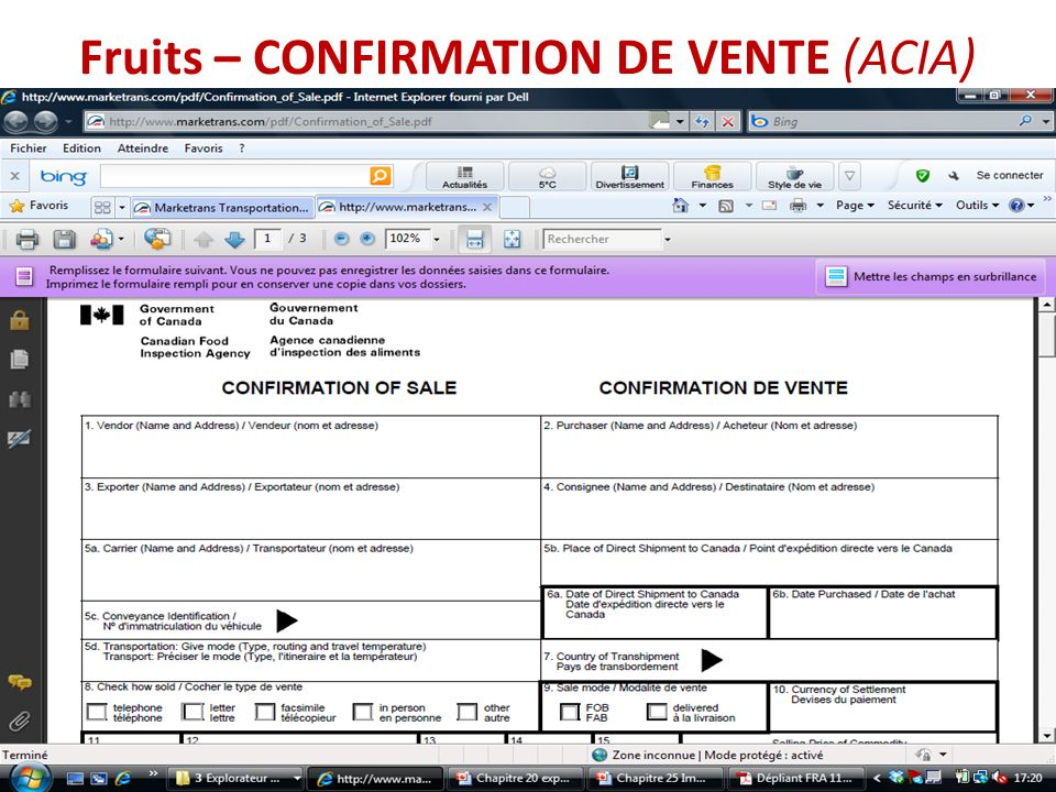 Fruits – CONFIRMATION DE VENTE (ACIA)