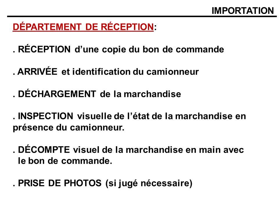 IMPORTATION DÉPARTEMENT DE RÉCEPTION: . RÉCEPTION d'une copie du bon de commande. . ARRIVÉE et identification du camionneur.
