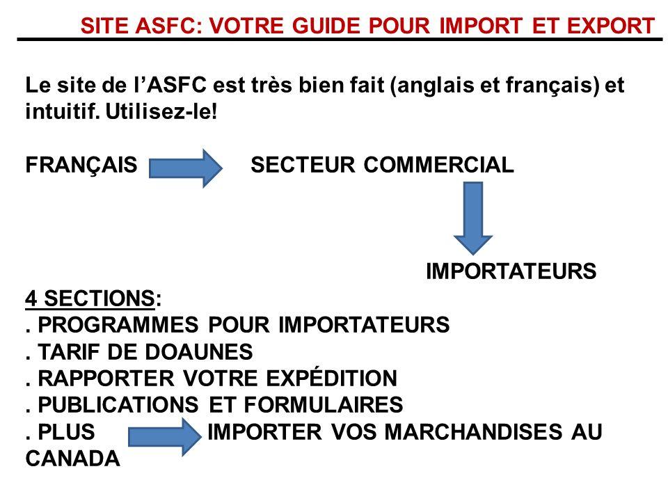 SITE ASFC: VOTRE GUIDE POUR IMPORT ET EXPORT