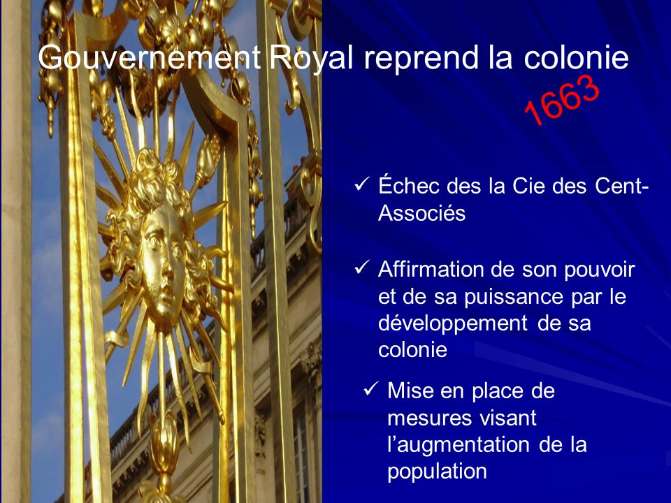 Gouvernement Royal reprend la colonie