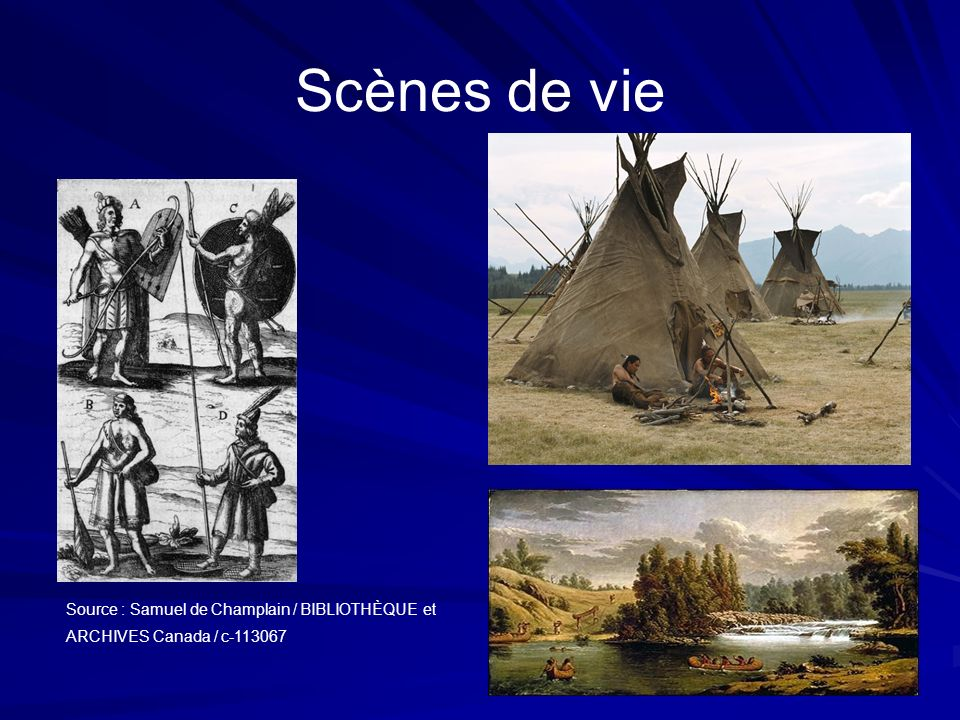 Scènes de vie Source : Samuel de Champlain / BIBLIOTHÈQUE et ARCHIVES Canada / c-113067