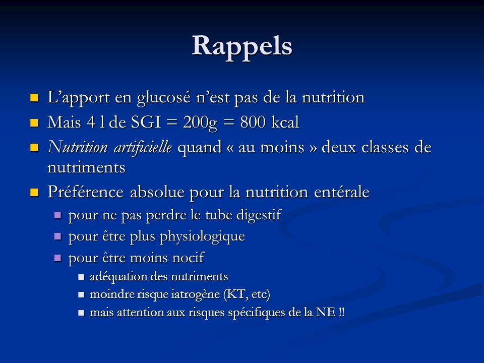 Rappels L'apport en glucosé n'est pas de la nutrition