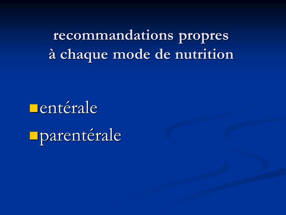 recommandations propres à chaque mode de nutrition