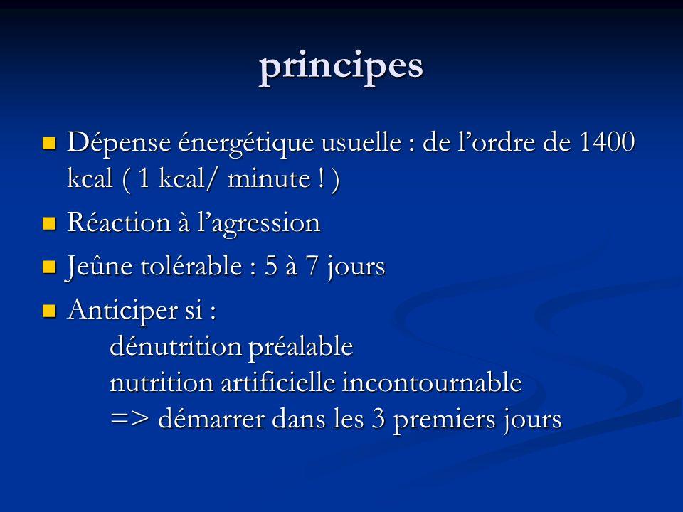 principes Dépense énergétique usuelle : de l'ordre de 1400 kcal ( 1 kcal/ minute ! ) Réaction à l'agression.