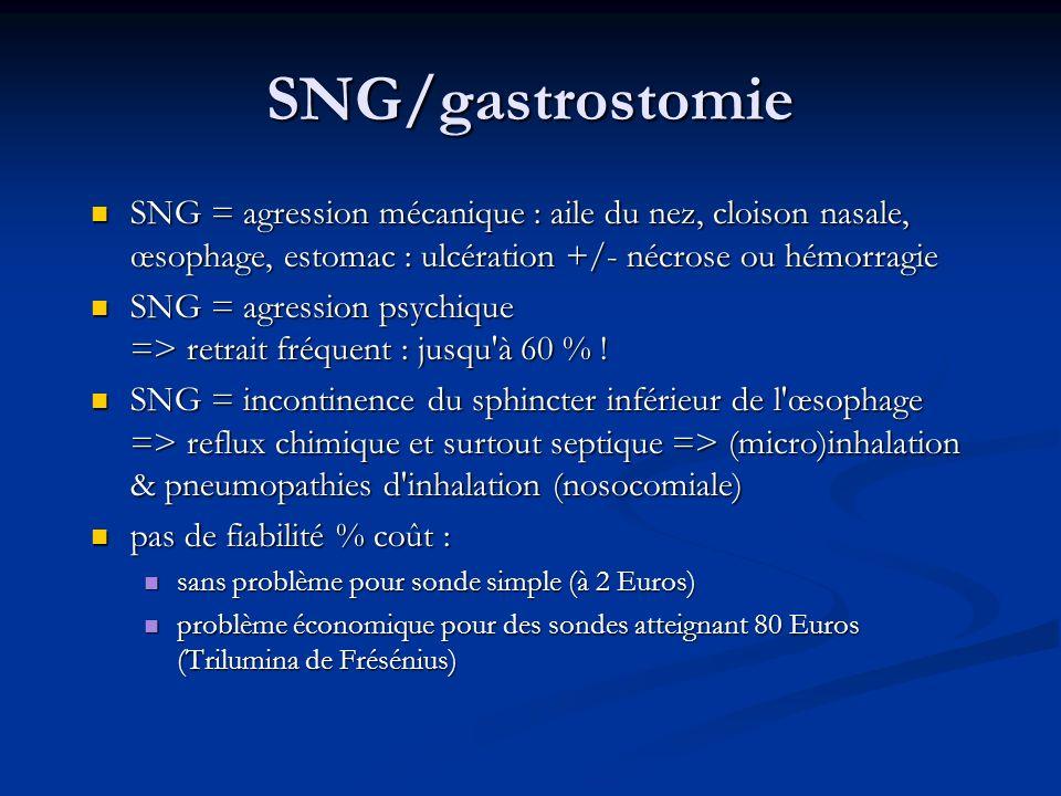 SNG/gastrostomie SNG = agression mécanique : aile du nez, cloison nasale, œsophage, estomac : ulcération +/- nécrose ou hémorragie.