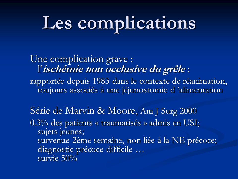 Les complications Une complication grave : l'ischémie non occlusive du grêle :