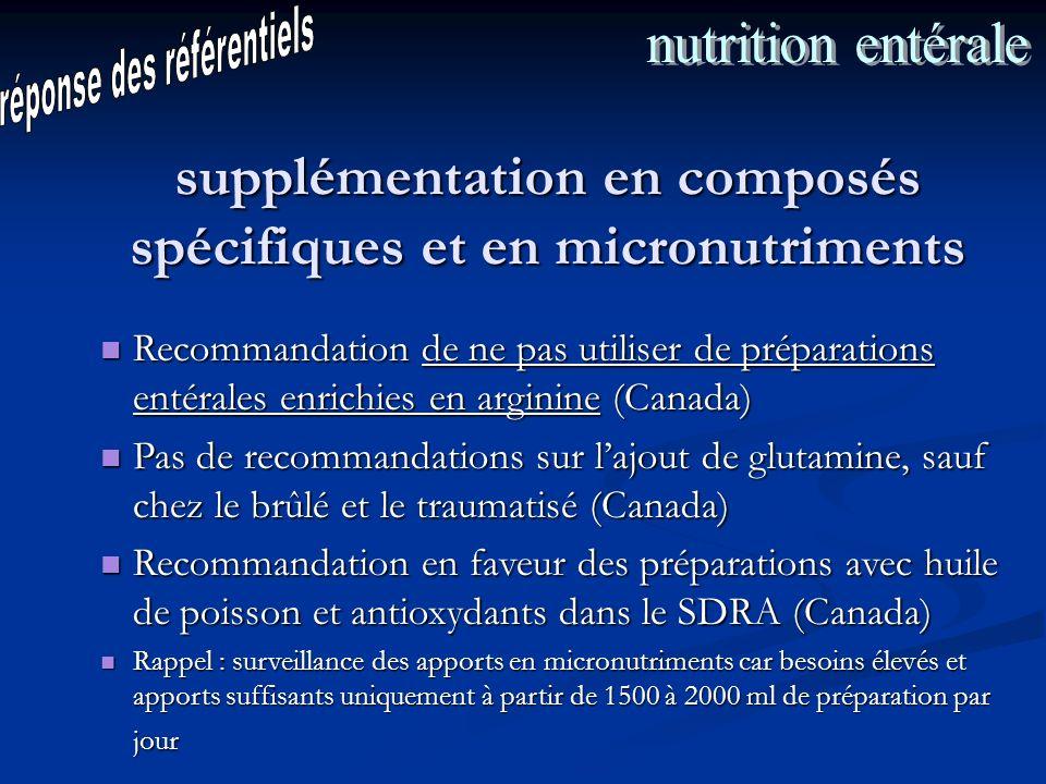 supplémentation en composés spécifiques et en micronutriments