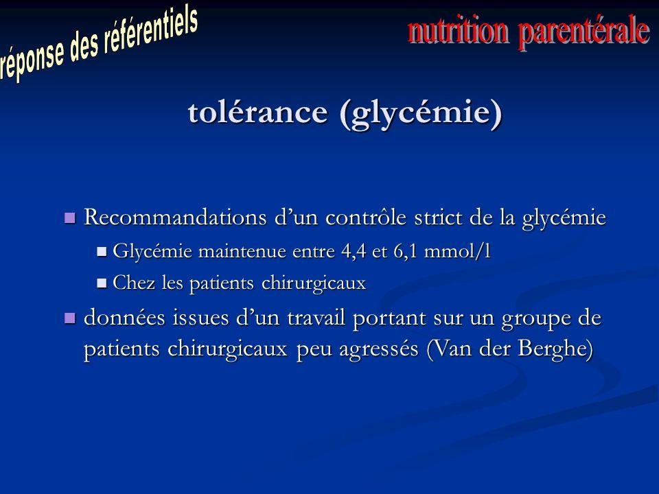 tolérance (glycémie) réponse des référentiels nutrition parentérale