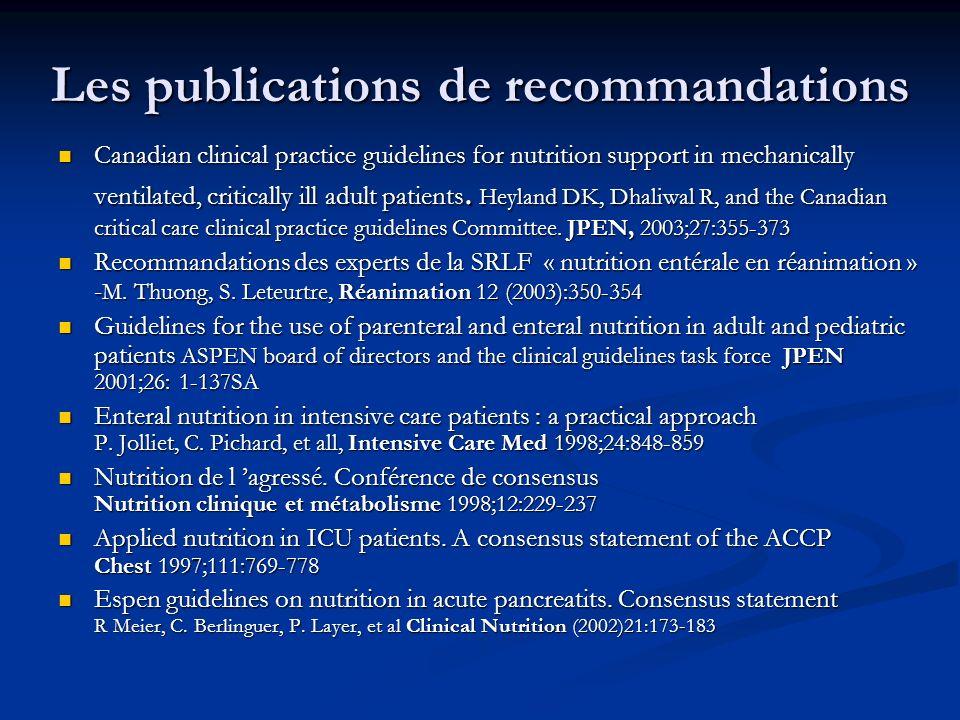 Les publications de recommandations