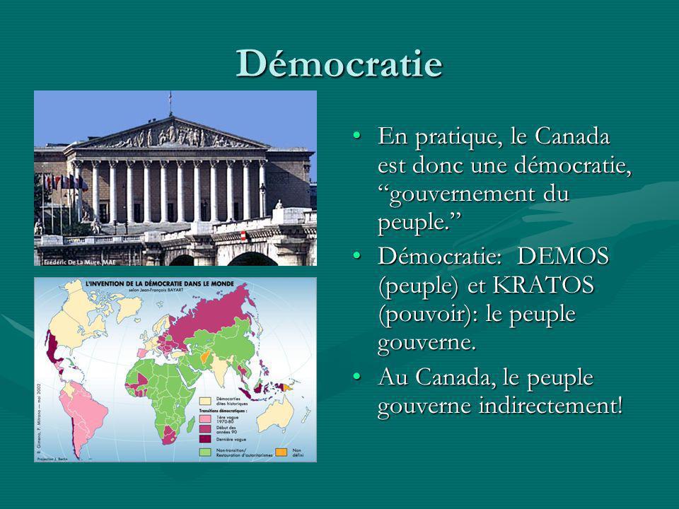 Démocratie En pratique, le Canada est donc une démocratie, gouvernement du peuple.