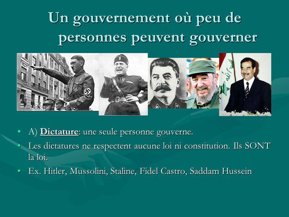Un gouvernement où peu de personnes peuvent gouverner