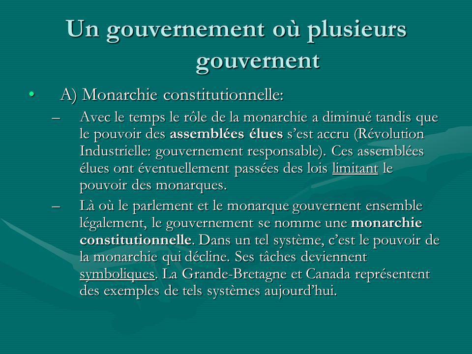 Un gouvernement où plusieurs gouvernent